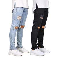 2 Renkler Erkek Kot Rahat Diz Delik Fermuar Tasarım Elastik Bel Kalem Slim Fit Moda Yeni Kentsel Rüzgar Tarzı Serin Pantolon