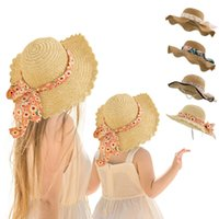2Pcs Summer Straw Hats For Mom and Kids Fashion Breathable Cap Girls Women Beach Sunhat Lovely Wide Brim Parent-child Travel Sunshade Caps