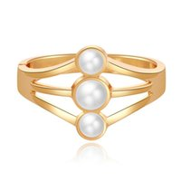 Bangle Geometry Gold Color Pearl Charm Cuff Simple Hollow Out Wide Metal Bracelets & Bangles For Women Fashion Jewelry