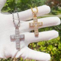 Pendant Necklaces Hip Hop Bling Zircon Jesus Cross Necklace Gold Color Twist Chain For Women Men Gothic Jewlery Accessories