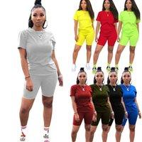 Femmes Tracksuits Sport Coussins Designers Vêtements 2021 Loisirs Sports Sports Deux Piece Coton Ensemble Femmes Robes d'été