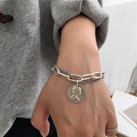 Charm Bracelets Punk Style Unisex Vintage Carved Coin Circle Thick Chain Tassel Pendant Double Layer Bangles Fashion Accessories
