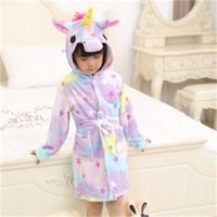 Capucha Unicornio Niños Albornoz Animal Oído Decorar Lindos Niños Nightgowns Pocket Rope Flannel Pijamas Boy Girl Stars 24CQ G2