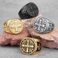 Saint Benedict Cspb Gold Black Cross Men Rings Punk Hip Hop for Boyfriend Male Stainless Steel Jewelry Creativity Wholesale