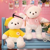 1pc 38cm Cute Teddy Bear with Clothes Plush Toys Kawaii Bears with Eggs Pillow Stuffed Soft Animal Dolls for Kids Child Gift