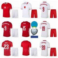 21-22 Soccer National Team 9 Robert Lewandowski Jersey Set 7 Arkadiusz Milik 1 Wojciech Szczesny 15 Kamil Glik Casa Camisa de Futebol Kits B-L
