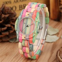 Wristwatches Fabulous Colorful Bamboo Wood Women's Watches Quartz Movement Trendy Simple Lady Wooden Bracelet Wristwatch Folding Clasp Clock