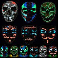 Máscara de Halloween LED LED Encienda Party Brillante Máscaras divertidas El año de la elección de purga Gran festival Cosplay Suministros de disfraces Coser Cara Sheild A02