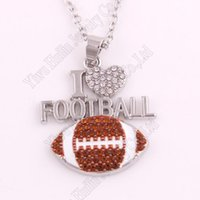"""Collares colgantes gota 1.1 """"* 1.2"""" pulgadas de regalo de moda Crystal I Love Football 2D Link Chain Cadena Collar Fans Favorito Joyería"""
