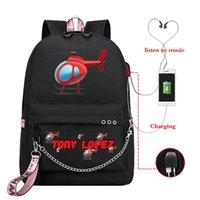 배낭 패션 가방 Tony Lopez 헬리콥터 프린트 어린이 학교 가방 소녀 대형 청소년 USB Schoolbag