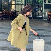 Sweet Chic Zweiteiler Mode Frühling 2021 Stil Blazer und Rock Set Frauen Temperament Design Anzug Jacke Für Damen Zh315 Kleid