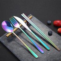Talware coreano sets aço inoxidável de aço inoxidável faca faca garfo colher chopsticks conjunto de talheres coloridos para acessórios de cozinha de casamento DWB8615