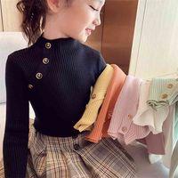 Moda Bahar Kız Kazak Örgü Kazak Tops Turtlrneck Kazak 2-14 Yıl Çocuk Giyim Sıcak Çocuklar 210909
