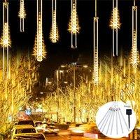 Dizeleri 8 ADET 50/30 cm Güneş Enerjili Meteor Duş Yağmur Dize Işıkları 288/144 leds Düğün Noel Veranda Dekor için Su Geçirmez