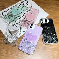 Pink Glitter Heart Mirror Holder Phone Case for Samsung Galaxy S21 S20 Ultra Note 20 Epoxy Bling Covers for iphone 11 12 XR XS Max 6 6s 7 8 Plus SE cases