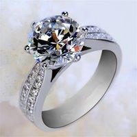 الكلاسيكية الفاخرة حقيقية الصلبة 925 فضة حلقة الماس الدائري مجوهرات الزفاف خواتم الخطوبة للنساء 825 Q2