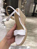 أحذية اللباس ollymurs الصيف فتح تو منحدر كعب الكاحل حزام أسافين t الجدول الصنادل المنسوجة المرأة 35-42