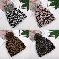 Leopard Print Knit Cap Women Pom Pom Ears Winter Warm Hat Beanie Twist Double-Layer Wool Ball Caps 4 Styles 324 N2