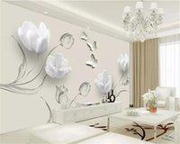 Benutzerdefinierte jegliche größe 3d flower tapete mode einfache tulpen schmetterling wohnzimmer schlafzimmer küche wohnkultur tapeten wande wandabdeckung