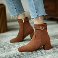 Winter Autumn Women Ankle Boots Kid Suede High Heels Dress Shoes Buckle Square Toe Ladies Fashion Botas Mujer