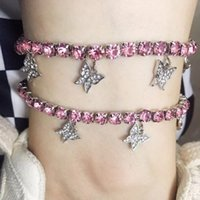Silver Gold Cuban Butterfly Bracelet Necklace Iced Out CZ Anklet Bling Hip Hop for Women Beach Jewelry Set