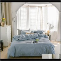 Sets Supplies Textiles & Gardensimple Color Four Piece Quilt Er Bed Pure Cotton Autumn And Winter Sleeping Naked Home Nordic Muji Bedding Dro