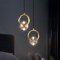 Bedroom Bedside Chandelier Light Luxury Copper Crystal Lamp Simple Restaurant LED Lighting Pendant Lamps