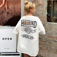 T-shirt de grande taille Été lâche lettre à manches courtes imprimées Tees Polos Casual Casual Slim Top Coton Jambières et robes