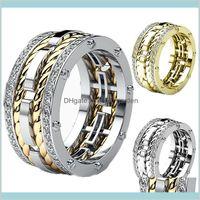 Групповые кольца Ювелирные Изделия Drop Доставка 2021 3 Цвета Личность Унисекс Кристаллическая Творческая Услуги в форме Шина Скручивание Два Тон Золотое кольцо Sier для M