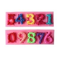 أدوات كعكة 0-9 أرقام جميلة 3D سيليكون العفن مع عصا ثقب تجهيزات المطابخ شريط الطعام غير عصا تزيين فندان