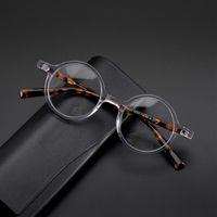 Occhiali da vista acetato fatto a mano Occhiali da vista Donne Vintage Round Myopia Occhiali ottici Uomini 2021 Corea Retro Eyewear Moda Occhiali da sole FR