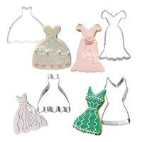 5 Stili Acciaio inossidabile Wedding Dress Dress Biscotti Cutters Fondant Biscotti Cutters Strumenti Decorazioni Y0712