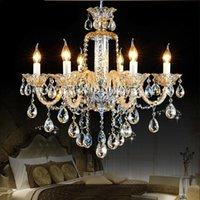 Европейский стиль люстры Современный кристалл большая гостиная EL Villa Chanseliers LED висит свет канделябры