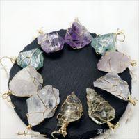 Довольно природа Каменные подвески Аметист розовый кварцевый белый кристалл лимона кристалл флюорита подвески камень для ожерелья 706 T2