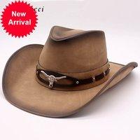 Fibonaci 새로운 최고 품질의 웨스트 카우보이 모자 패션 가짜 가죽 금속 황소 머리 장식 챙 넓은 서양 남성 여성 모자