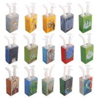 Protable Hookah Glass Juice Box Water Pipe Dab Rigs Beaker Bongs 7 Inch Oil Burner Pipes with Cartoon Sticker