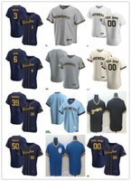 Männer Frauen Jugend 3 Orlando Arcia 50 Ray Black 39 Corbin Burnes 6 Lorenzo Cain Custom Baseball Jersey leeres weiß grau beige Marineblau