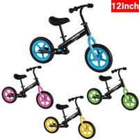 EU estoque de 12 polegadas crianças sem pedal bicicleta garoto de aço carbono roda crianças equilibrar bicicleta azul rosa verde amarelo