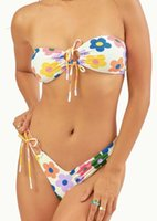 Two-piece Suits Low Waist Bikini Triangle Swimwear Bandage Backless Two Pieces Brazilian Swimsuit Women Print Floral Beachwear Bathing Suit
