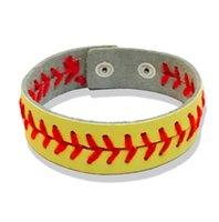 Nuevo pulsera de béisbol de cuero de béisbol de softbol Sports Snap de cierre de los hombres Brazalete de pulsera para mujeres Joyería de fan a granel 297 G2