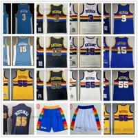 Retro Mitchell y Ness 3 Allen Baloncesto Iverson Jersey cosido 15 Carmelo 55 Dikembe Anthony Mutombo Jerseys Shorts Amarillo Blanco Negro Blue MN Vintage