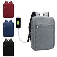 Backpack Usb Charg Shoulder Man Women Fashion Casual Backbag Oxford Travel Bag Solid Color Business Computer 15.6Inch