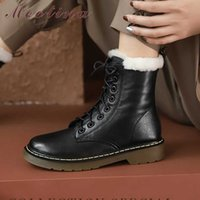 Meotina Natural Wool Fur Platform Mid Heel Motorcycle Boots Women Shoes Real Leather Short Boots Lace Up Block Heels Ankle Boot 210608