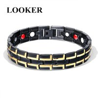 Link, Chain Round Stone Magnetic Therapy Bracelet Health Care Hematite Bracelets For Men 316 Stainless Steel Link
