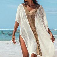 Women's Swimwear Women V-neck Pullover Solid Cover Up Summer Sexy Mesh Beach Dress Cover-ups 2021 Tassel Bikini Swimsuit