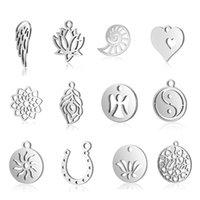 10 шт. / Лот 316L Нержавеющая сталь Multi Designers Bashcle Charms Life Tree / Lotus / Leaf Ornament Подвеска Выводы DIY ювелирных изделий