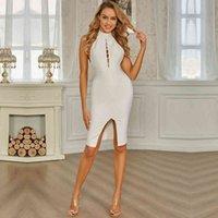 Elbise SWTAO Seksi Tasarımcı Açık Beyaz Haşhaş Kadın Bölünmüş Moda Sıkı Akşam Vestido UG3H
