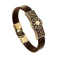 Punk moda bracelete de couro genuíno punho vintage estrelas encantos liga envoltório pulseira pulseira retro jóias casuais para mulheres homens charme bracel