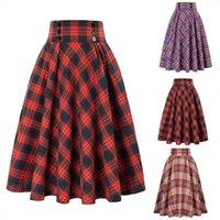 Saias Mulher Vintage High Waist Womens Skirts Plaid Long Buttoned Hem Fluffy Thin Covering Big Butt Female Pleated