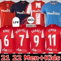 21 22 Atletico Madrid Futbol Formaları Suarez João Félix 2021 2022 M. Llorente Correa Koke Camisetas De Fútbol Lemar Carrasco Erkekler Çocuklar Kiti Futbol Gömlek Fanlar oyuncu versiyonu